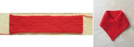 Röd schal stickad