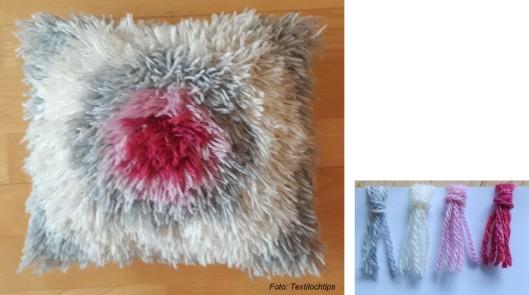 Grå kudde med rosa mittfält färdigt mått 31 x 28 cm. Till denna kudde  använde jag en vit Aidaväv med 32 rutor 10 cm. Ryaknuten knöt jag över 4  rutor med ... eb0043c14843e
